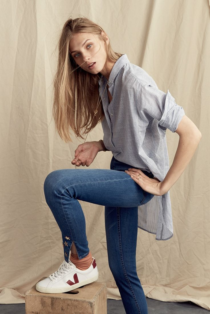 madewell side-button popover shirt worn with the high-rise skinny jeans:  side-slit edition + veja™ esplar low sneakers.