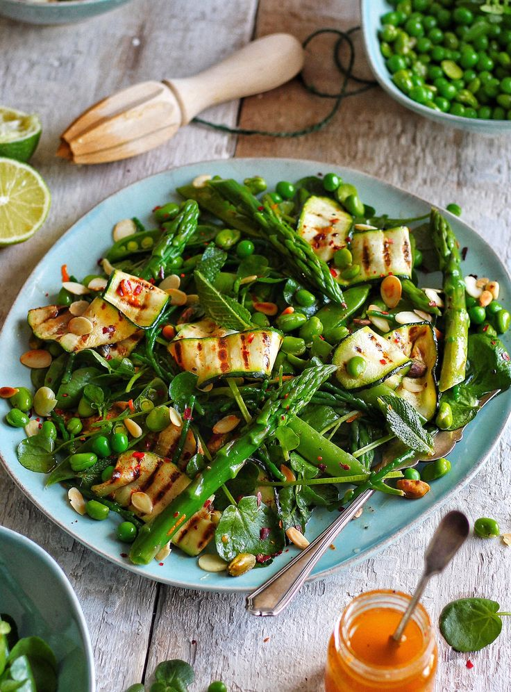 """This salad came about through my love for Spring/Summer ingredients, Asparagus, Samphire, Courgette, Watercress…the list goes on. The charring on the courgette gives the salad a new dimension of flavour..simply amazing!"""