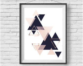 Navy & Blush Art Copper Print Triangles Art by PrintAvenue on Etsy