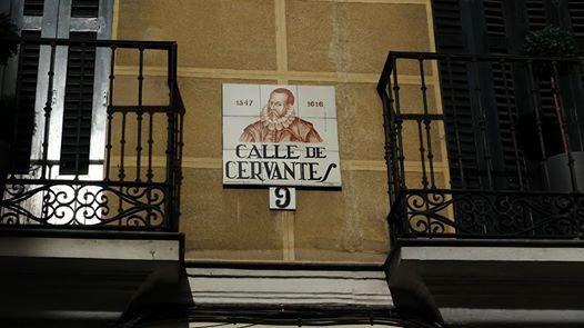 Barrio de las Letras, the Literary Quarter of Madrid, where Lope de Vega, the Spanish Shakespeare lived and died (August 26, 1635).  Ironically, Lope de Vega's house is now on calle Cervantes, a street named for his arch literary enemy, Miguel de Cervantes, the immortal author of Don Quixote, who also lived on this street for a short period.   Cervantes died in a convent one street over on the street now named calle Lope de Vega.  Dec. 17, 2014.   Photo by Gerry Dawes©2014 / ...