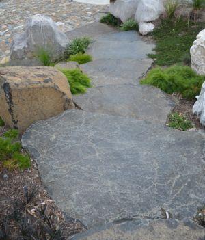 Basalt slap steps are so effective.  Supplied by Rock Flat Basalt.