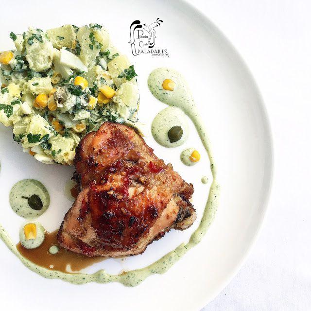 Poesía Culinaria Sabores De Nati Perniles En Salsa De Soya Y Miel Con Ensalada De Patata Y Maíz Ensalada De Patatas Salsa De Soya Recetas De Comida
