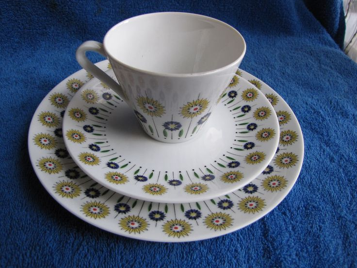 Germany Bavaria tea pair cup saucer plate coffe 3 pcs Vintage German pottery #Bavaria
