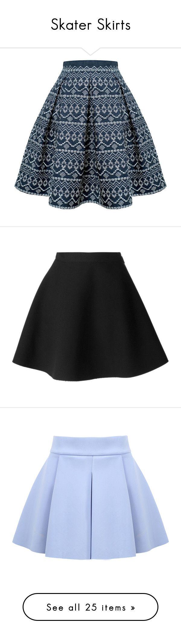 """Skater Skirts"" by brookieg711 on Polyvore featuring skirts, flared midi skirt, skater skirt, pleated midi skirt, flared skirt, flare skirt, black, black skirt, msgm skirt and black circle skirt"