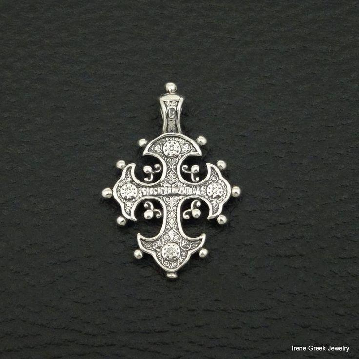 RARE BYZANTINE STYLE 925 STERLING SILVER GREEK HANDMADE ART CROSS #IreneGreekJewelry #Pendant