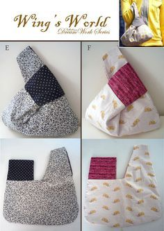 Japanese Knot Bag for sale by WingsWorld on Etsy. I like the contrasting fabric where it knots.