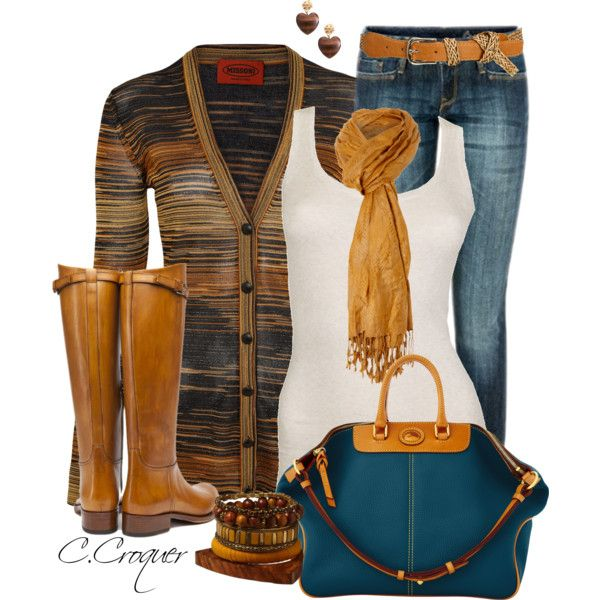 Striped Cardigan, created by ccroquer on Polyvore