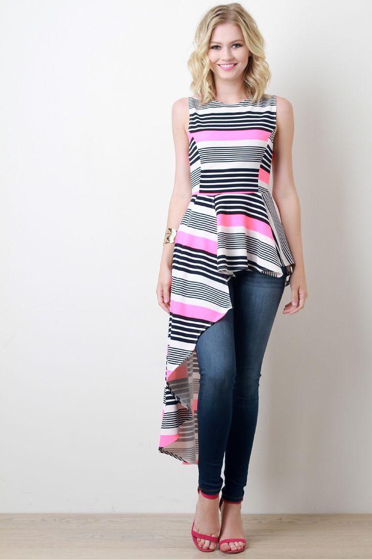 Neon Stripe Asymmetrical Peplum Top