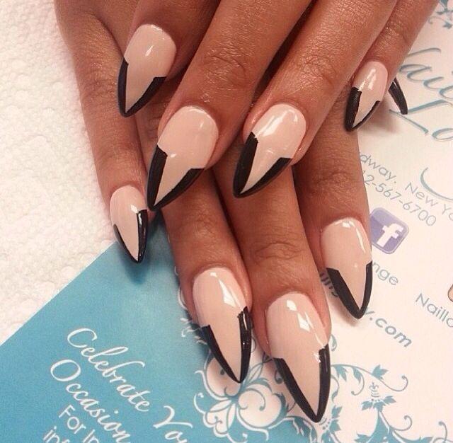 Nail art nude nails and black tops on pinterest - Nail art nude ...