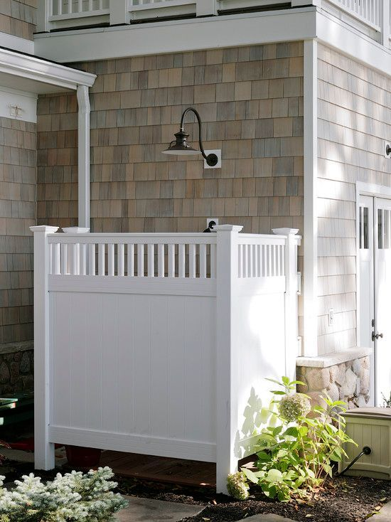Deck with Pathway, Outdoor shower, Wood shingle siding, Tacoma 6 ft. x 8 ft. White Vinyl Privacy Fence Panel