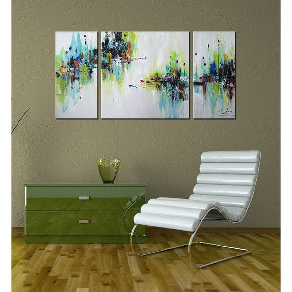 Hand-painted 'Abstract545' 3-piece Gallery-wrapped Canvas Art Set ($90) ❤ liked on Polyvore featuring home, home decor, wall art, horizontal wall art, three piece wall art, 3 pc wall art, 3 piece canvas art set and canvas art set