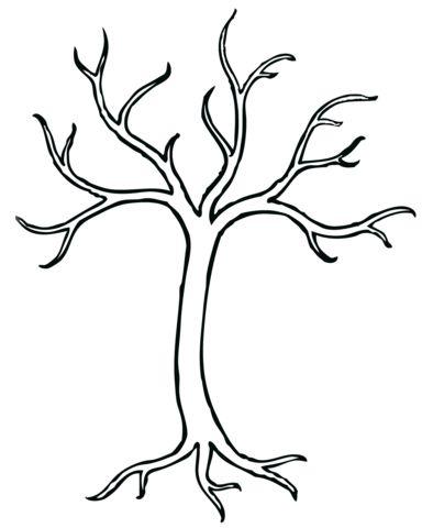 Kale boom kleurplaat