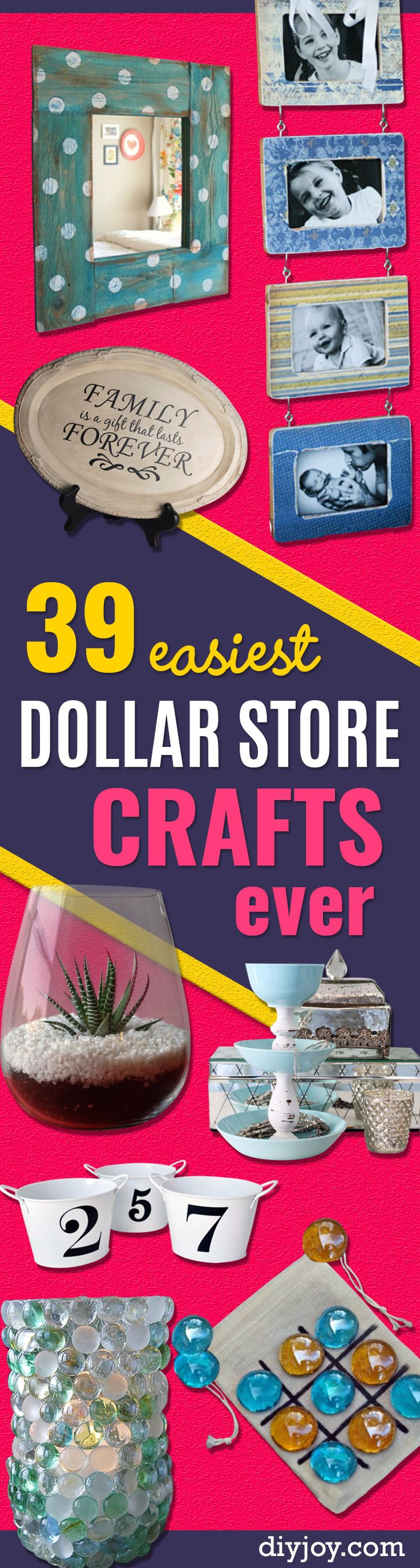 39 Easiest Dollar Store Crafts Ever - Quick And Cheap Crafts To Make, Dollar Store Craft Ideas To Make And Sell, Cute Dollar Store Do It Yourself Projects, Cheap Craft Ideas, Dollar Sore Decor, Creative Dollar Store Crafts http://diyjoy.com/easy-dollar-store-crafts