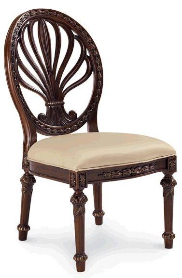 Стул из коллекции Empire II с ажурной спинкой тонкой искусной резьбой  ручной работы, с мягким текстильным сидением. Отделка - хна. Ширина сидения 53 см, глубина 48 см.             Метки: Кухонные стулья.              Материал: Ткань, Дерево.              Бренд: Schnadig.              Стили: Классика и неоклассика.              Цвета: Бежевый, Темно-коричневый.