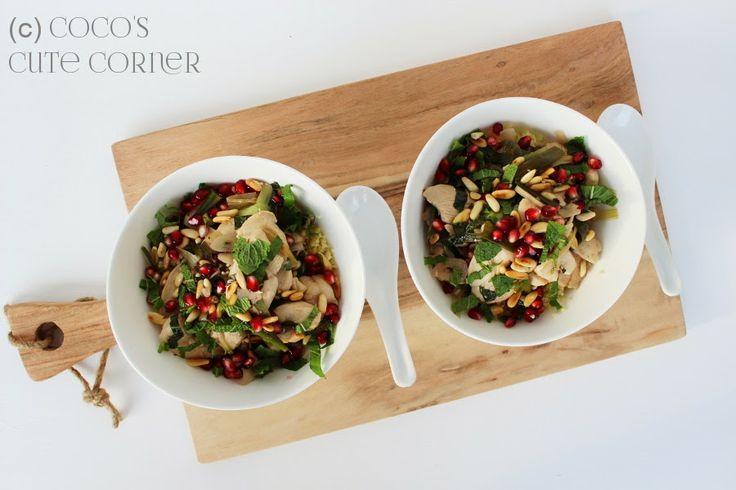 Wok-Hähnchen mit Granatapfel und Minze auf Couscous - mit kleinem Aufwand zu grosser Wirkung