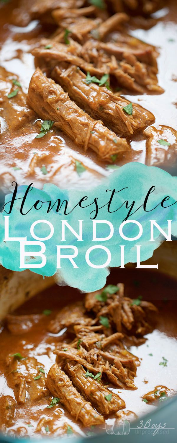 Homestyle London Broil || Cook up a juicy, tender, fall apart London Broil with a delicious gravy! The perfect Sunday dinner or mid-week comfort food served over piping hot mashed potatoes! || www.3boysunprocessed.com