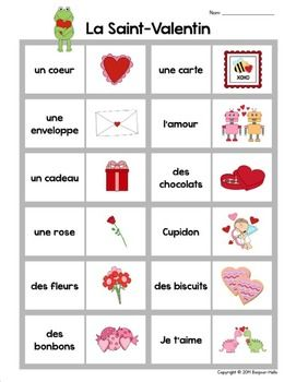 LA SAINT-VALENTIN: FRENCH VALENTINE'S DAY DOMINOES GAME AND FLASH CARDS - TeachersPayTeachers.com