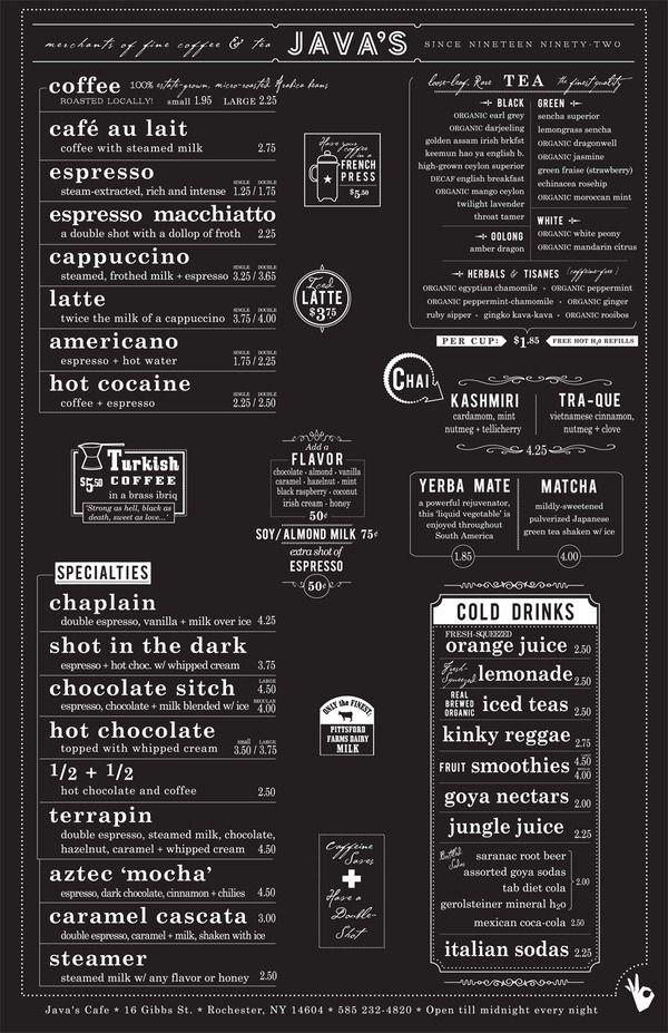 Javas in Typography