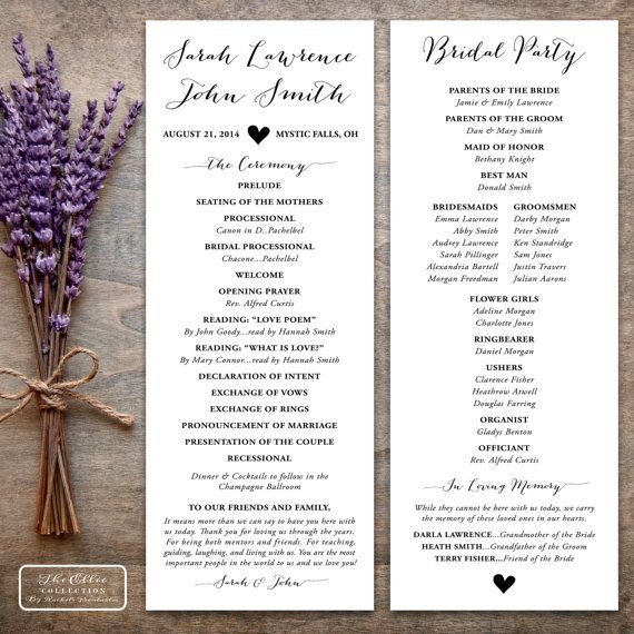 Printable tea length wedding program with calligraphy and rustic heart accents. By RachelsPrintables