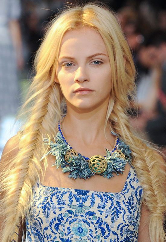 20 of the Best Beauty Looks from the Spring 2013 Runways: Messy fishtail braids at @Tory Burch