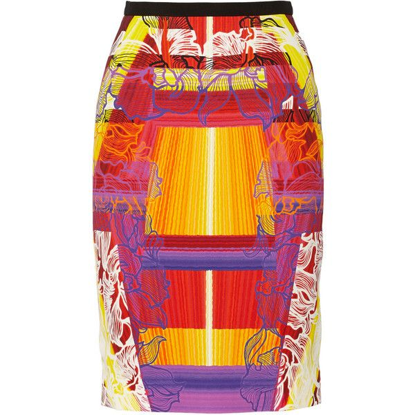 Peter Pilotto multicolored Shift skirt. Printed stretch-cady. Back vent, fully lined. Concealed button and zip fastening at back. 96% viscose, 4% elastane; lin…