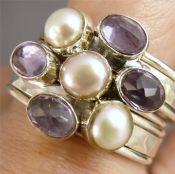 Zilveren edelsteen ringen set gezet Amethist en Parel