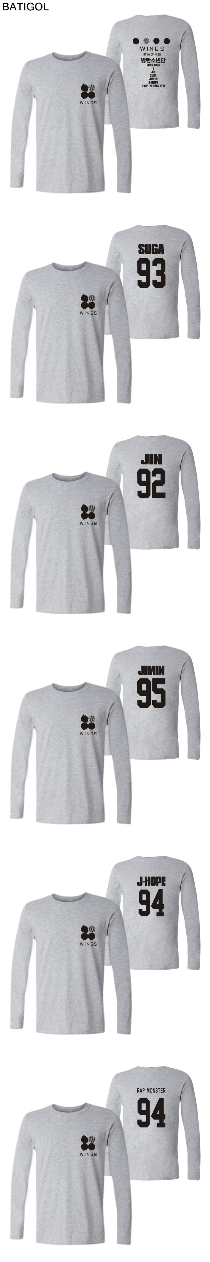 BATIGOL BTS Wings Album T-shirt Long Sleeve Kpop Bangtan Boys T-shirts Frauen Hip Hop Men Casual Fashion Streetwear Tee Shirts
