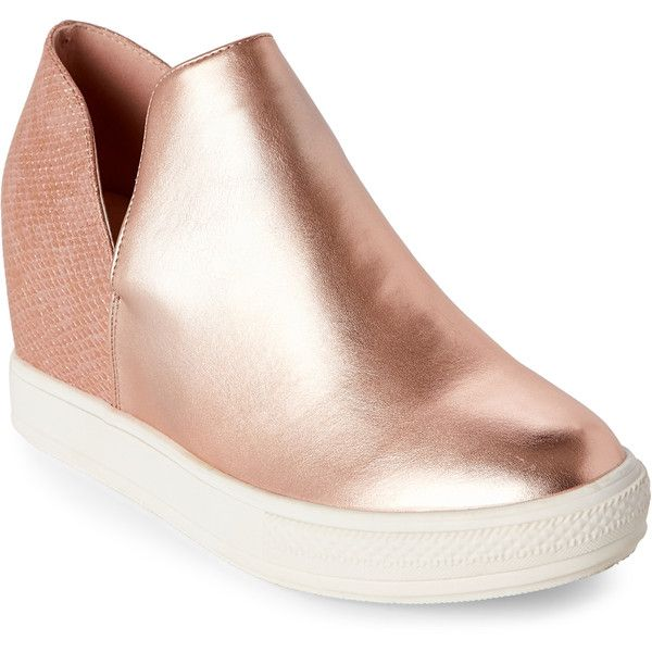 Wanted Rose Gold Adiron Metallic Wedge Sneakers ($30) ❤ liked on Polyvore featuring shoes, sneakers, red, wedged sneakers, metallic shoes, round toe sneakers, red shoes and metallic wedge sneakers