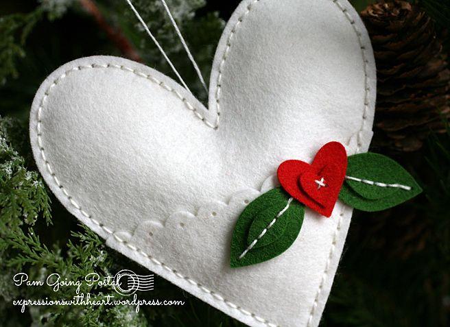 Pam Sparks Plush Heart Pocket White felt Close