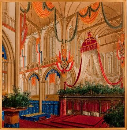 Ontwerptekening voor het podium, baldakijn en verdere decoraties