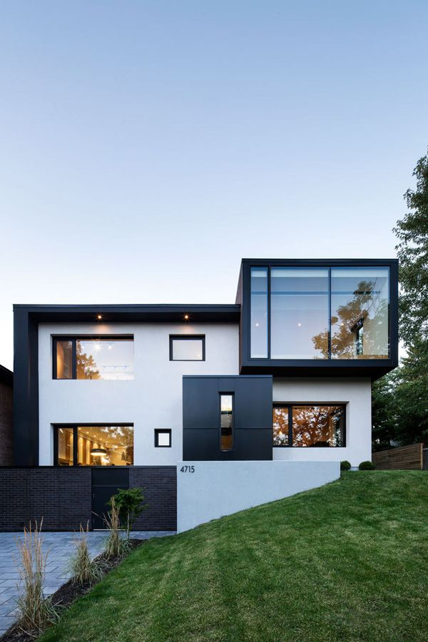 Exterior colours- charcoal, white and black window and doors