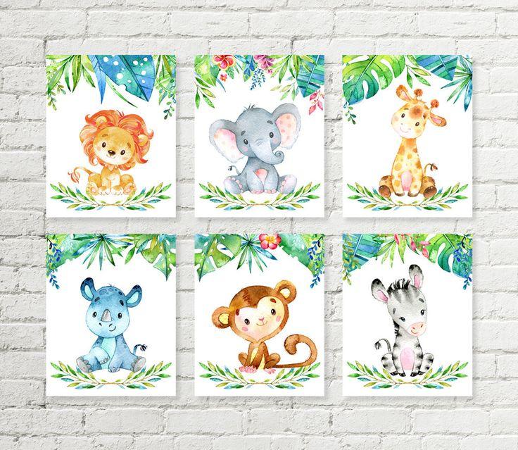 Dschungel Safari Kindergarten Druck Giraffe, Elefant, Löwe, Nashorn, Affe, Zebra Tiere druckbare Wand Kunst Baby Shower Geschenk 5 x 7 8 X 10 A4 Set von 6