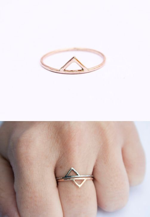 [tiny triangle stackable ring- stefaniesheehan, etsy.] I wonder if I could make a Triforce out of these...