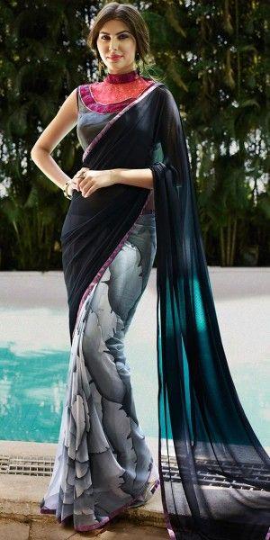Wondrous Black And Multi-Color Georgette Saree.