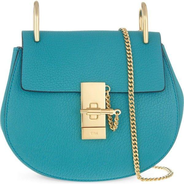 CHLOE Drew mini shoulder bag ($1,470) ❤ liked on Polyvore featuring bags, handbags, shoulder bags, purses, bolsas, borse, bolsos, blue leather handbags, chloe handbags and mini shoulder bag