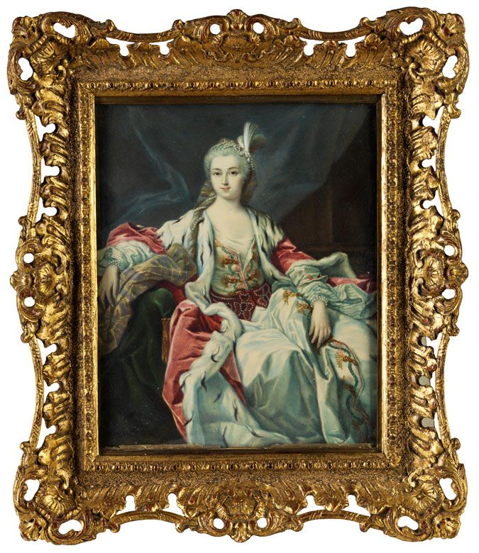 """NOT Porträt der Imperiatrzice Elisabeth Petrowna Romanowa = but copy from Van Loo's """"Marquise de Montcloux"""""""