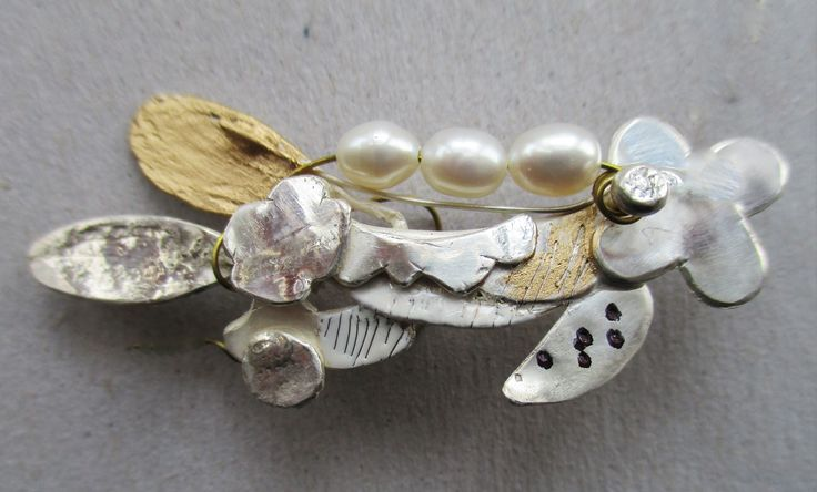 silver gold pearl brooch by marion addington