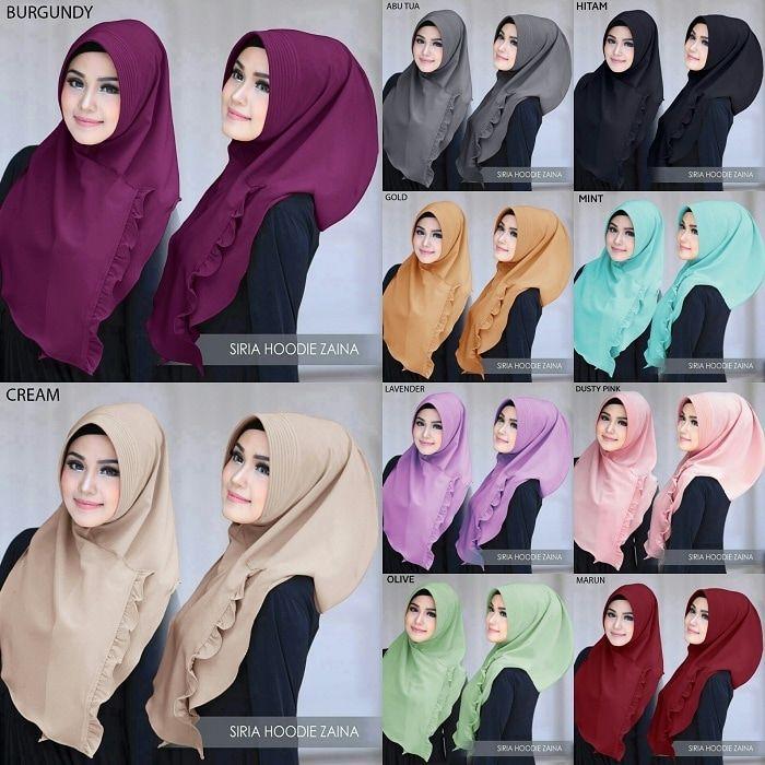Jilbab instan / Siria Hoodie Zaina diamond crepe, Jilbab instant 1x slup pad antem model tammia, dengan variasi rempel di bagian samping depan. Praktis dan cantik