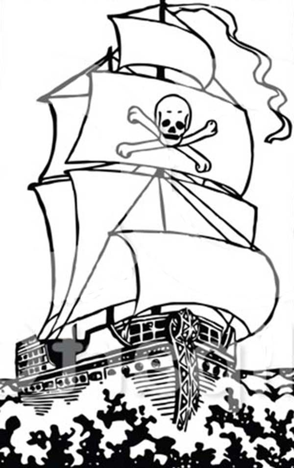Big Pirate Ship Galleon On The Raging Ocean Coloring Page ...
