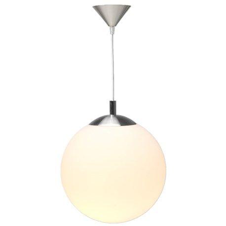 Hängande boll tillverkad av frostat glas och borstat stål.