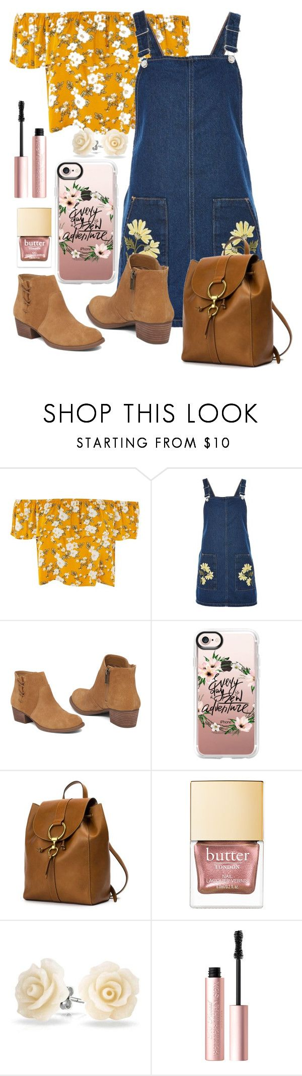 """Ellie {Up} Inspired Outfit"" by the-disney-outfits ❤ liked on Polyvore featuring Topshop, Jessica Simpson, Casetify, Frye, Bling Jewelry and Too Faced Cosmetics"