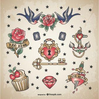 Klassieke liefde tattoo set
