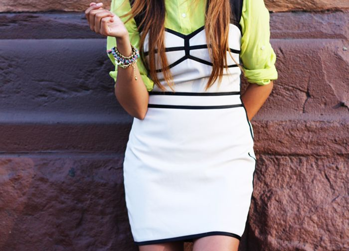 neon button up - throw a little dress over it!