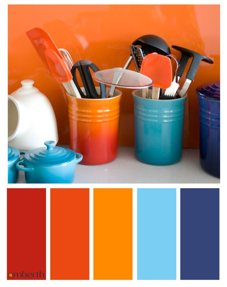 Image result for orange and red  blue  room colour
