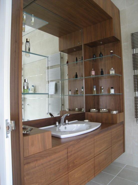 Huge pair of bespoke bathroom cabinets in walnut