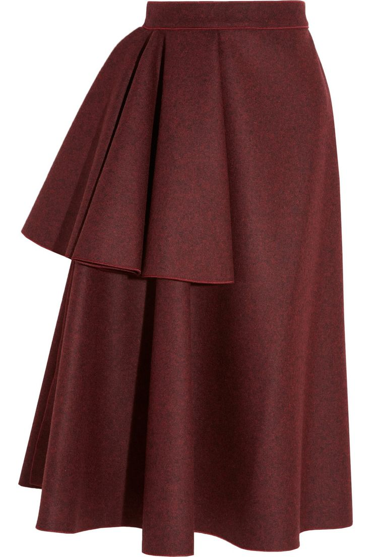 Wool-blend Skirt, ruffle, pleat, a-line, midi, circle-skirt, knee length, simple. Roksanda Ilincic | Avison draped wool-blend felt skirt | NET-A-PORTER.COM $2,063AUD