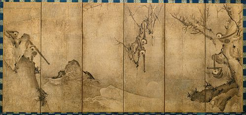 Gibbons, Muromachi period (1392–1573)  Sesson Shukei (Japanese, 1504–1589?)  Japan  Pair of six-panel screens; ink on paper