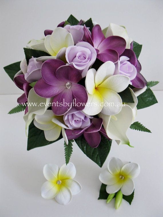 Real Touch White Purple lilac  Frangipani Calla by eventsbyflowers, $144.99