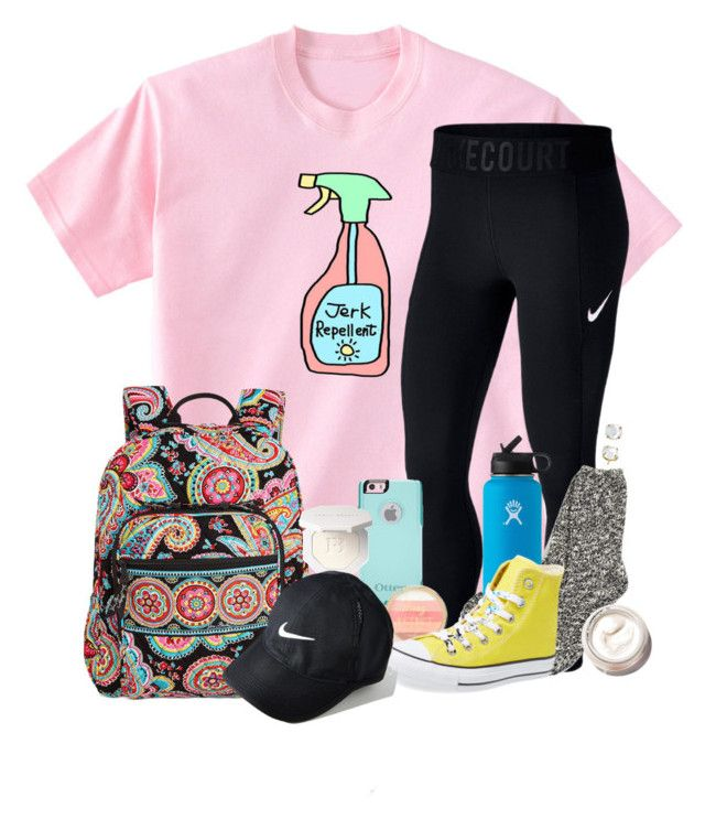 """Love this shirt"" by southernstruttin ❤ liked on Polyvore featuring NIKE, OtterBox, TNA, Hydro Flask, Converse, Vera Bradley, Bobbi Brown Cosmetics and Irene Neuwirth"