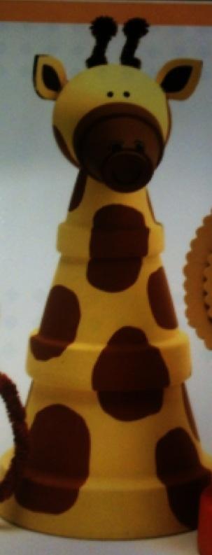 Cute fun clay pot/ flower pot giraffe with wooden ball head kids craft